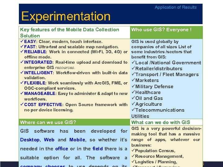 Experimentation Application of Results Key features of the Mobile Data Collection Solution Who use