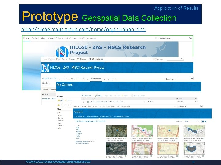 Application of Results Prototype Geospatial Data Collection http: //hilcoe. maps. arcgis. com/home/organization. html GIS