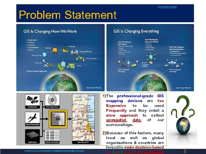 Problem Statement Introduction 1)The professional-grade GIS mapping devices are too Expensive to be used