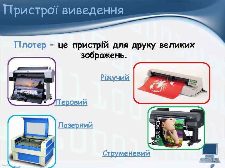 Пристрої виведення Плотер – це пристрій для друку великих зображень. Ріжучий Перовий Лазерний Струменевий