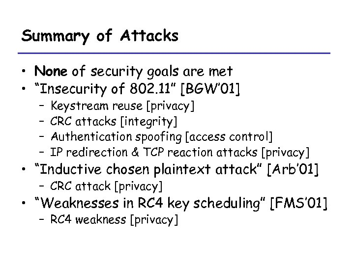 """Summary of Attacks • None of security goals are met • """"Insecurity of 802."""