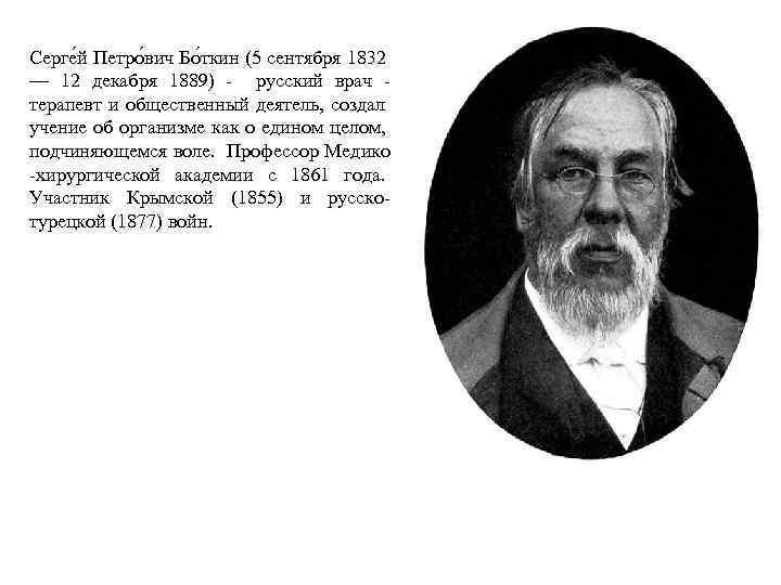 Серге й Петро вич Бо ткин (5 сентября 1832 — 12 декабря 1889) -