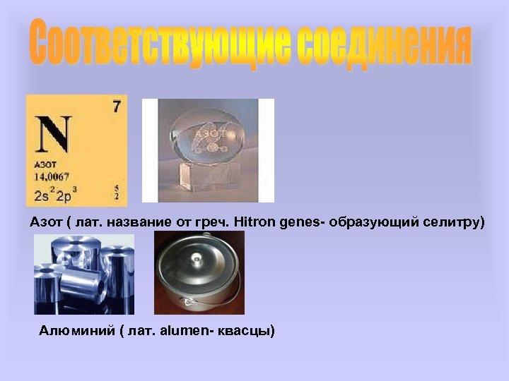 Азот ( лат. название от греч. Hitron genes- образующий селитру) Алюминий ( лат. alumen-