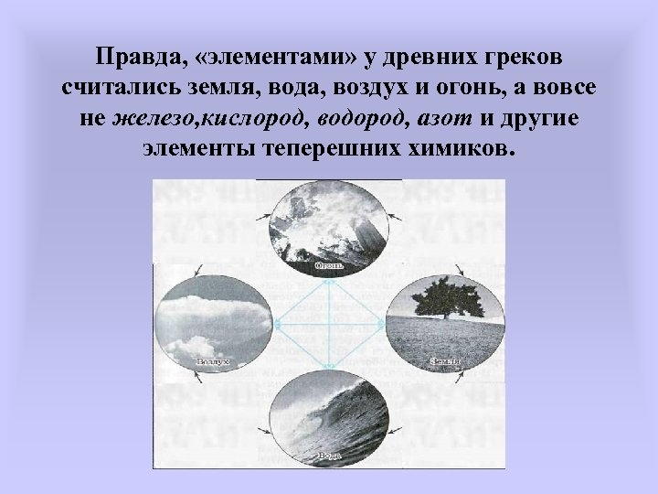 Правда, «элементами» у древних греков считались земля, вода, воздух и огонь, а вовсе не