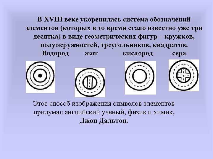 В XVIII веке укоренилась система обозначений элементов (которых в то время стало известно уже