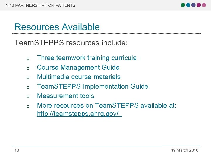 NYS PARTNERSHIP FOR PATIENTS Resources Available Team. STEPPS resources include: o o o 13
