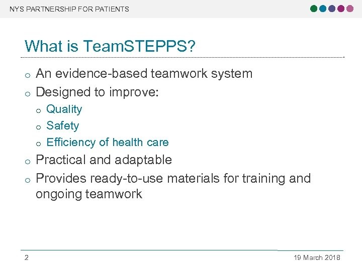 NYS PARTNERSHIP FOR PATIENTS What is Team. STEPPS? o o An evidence-based teamwork system