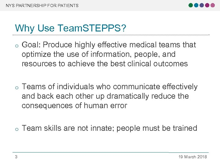 NYS PARTNERSHIP FOR PATIENTS Why Use Team. STEPPS? o Goal: Produce highly effective medical