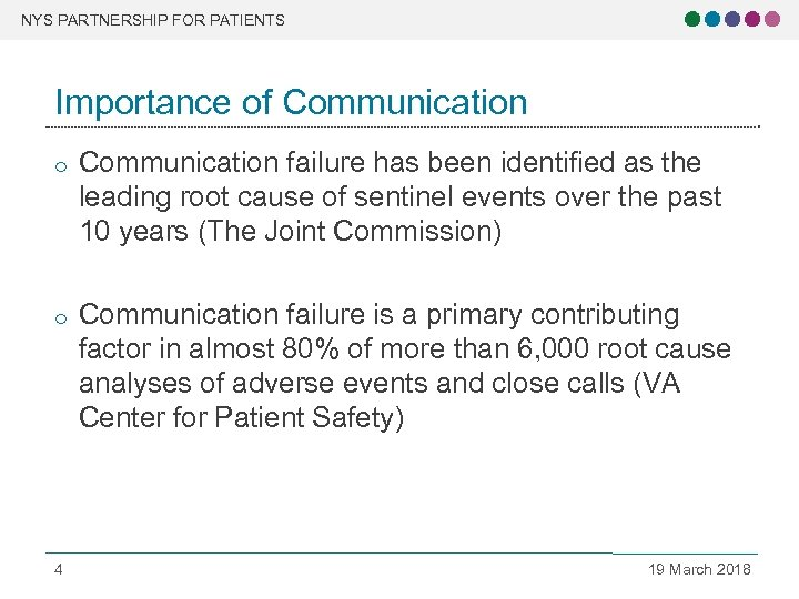 NYS PARTNERSHIP FOR PATIENTS Importance of Communication o Communication failure has been identified as