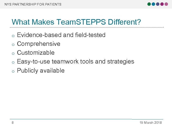 NYS PARTNERSHIP FOR PATIENTS What Makes Team. STEPPS Different? o o o 8 Evidence-based