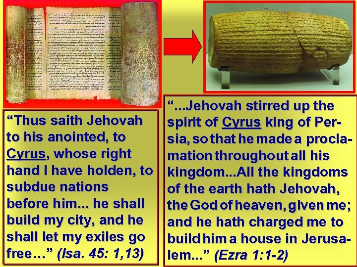 """"""". . . Jehovah stirred up the """"Thus saith Jehovah spirit of Cyrus king"""