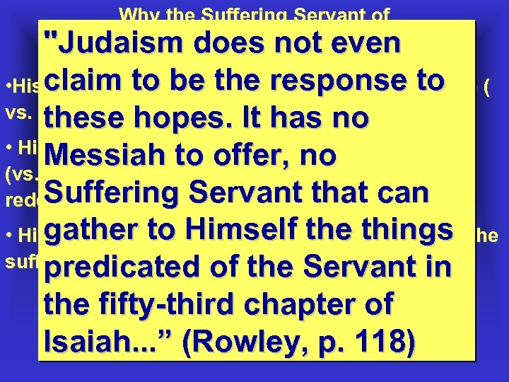 Why the Suffering Servant of Isaiah 53 is not the not of Israel: