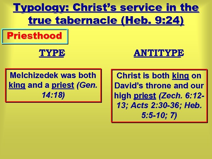 Typology: Christ's service in the true tabernacle (Heb. 9: 24) Priesthood TYPE ANTITYPE Melchizedek