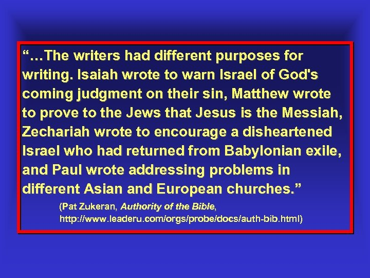 """""""…The writers had different purposes for writing. Isaiah wrote to warn Israel of God's"""