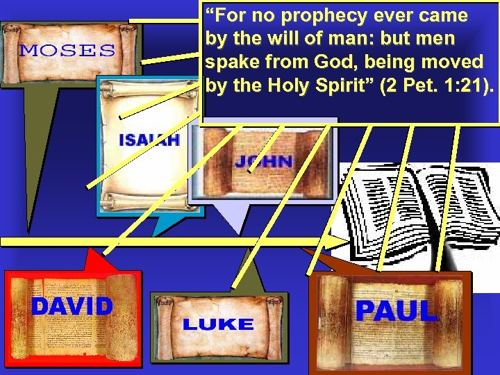 """""""For no prophecy ever came by the will of man: but men spake from"""