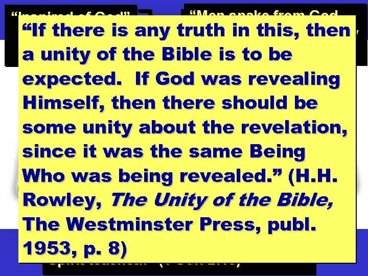"""""""Men spake from God, truth in this, the Holy being moved by then Spirit"""""""