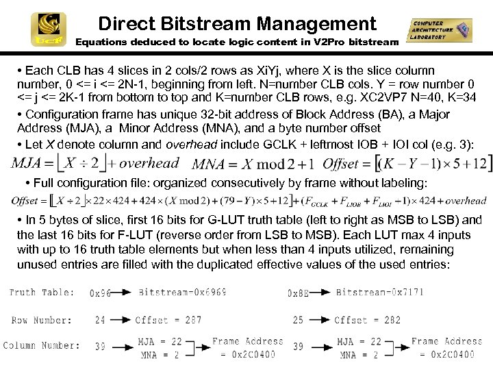 Direct Bitstream Management Equations deduced to locate logic content in V 2 Pro bitstream