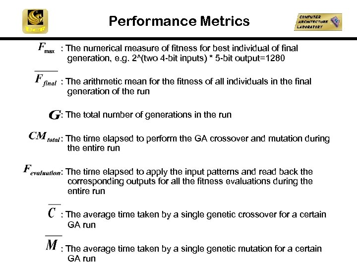 Performance Metrics : The numerical measure of fitness for best individual of final generation,