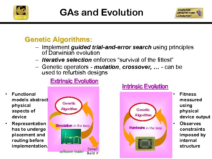 GAs and Evolution Genetic Algorithms: - Implement guided trial-and-error search using principles of Darwinian