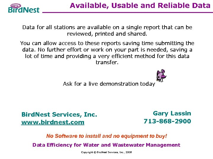 Available, Usable and Reliable Data for all stations are available on a single report