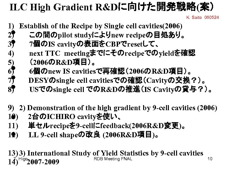 ILC High Gradient R&Dに向けた開発戦略(案) K. Saito 060524 1) 2) 3) 4) 5) 6) 7)