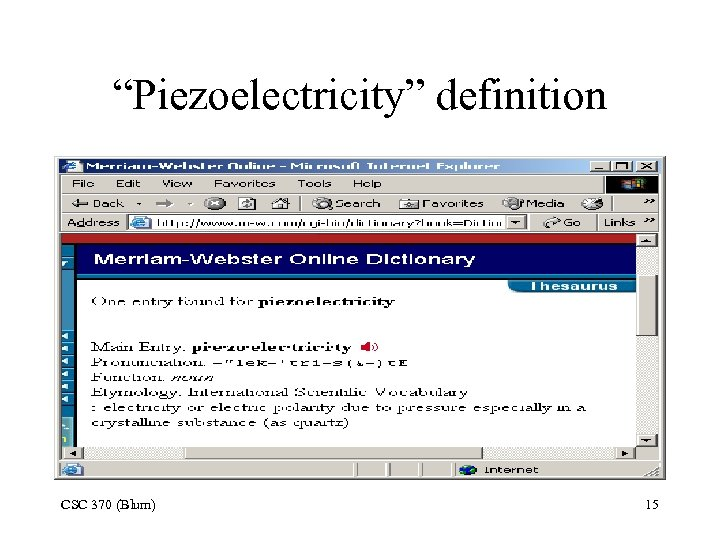 """Piezoelectricity"" definition CSC 370 (Blum) 15"