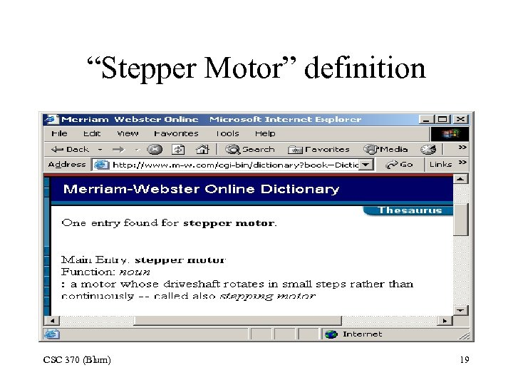 """Stepper Motor"" definition CSC 370 (Blum) 19"