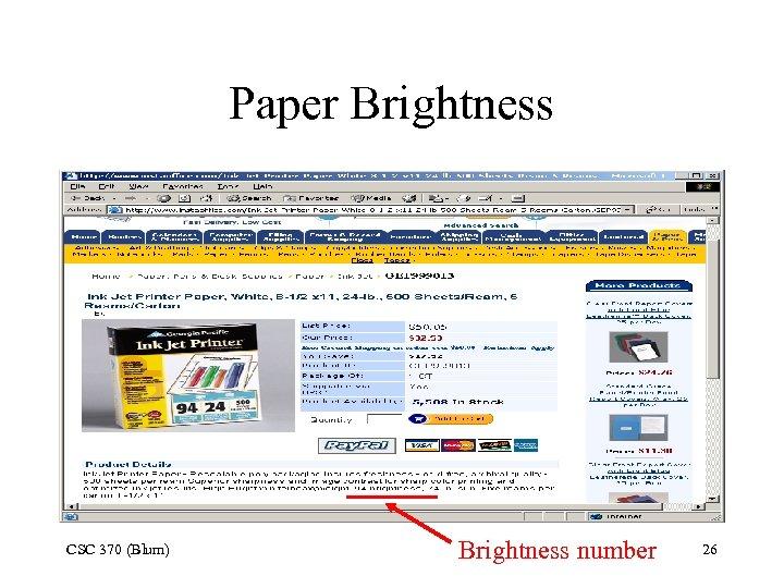 Paper Brightness CSC 370 (Blum) Brightness number 26
