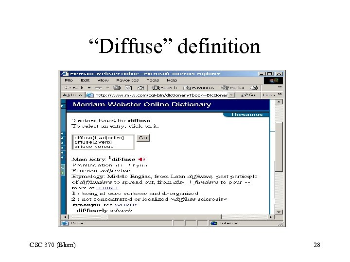 """Diffuse"" definition CSC 370 (Blum) 28"