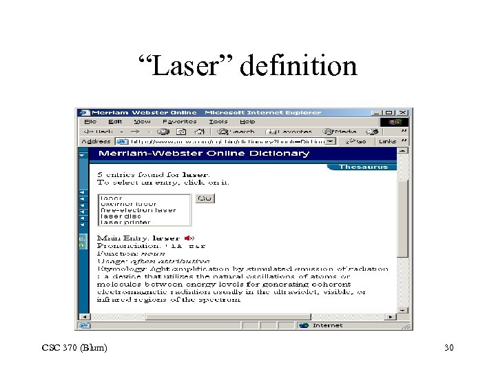 """Laser"" definition CSC 370 (Blum) 30"