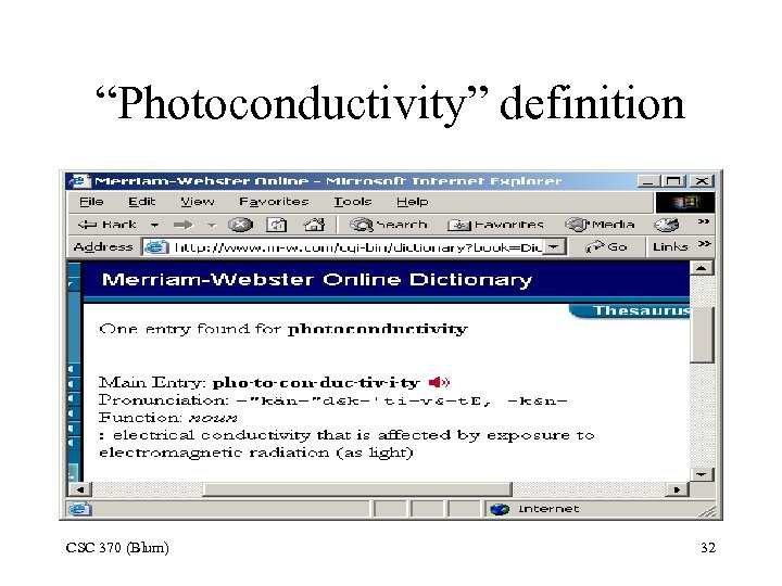 """Photoconductivity"" definition CSC 370 (Blum) 32"