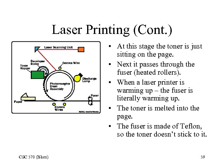 Laser Printing (Cont. ) • At this stage the toner is just sitting on