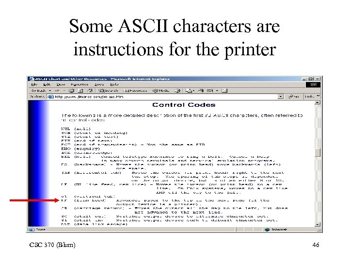Some ASCII characters are instructions for the printer CSC 370 (Blum) 46