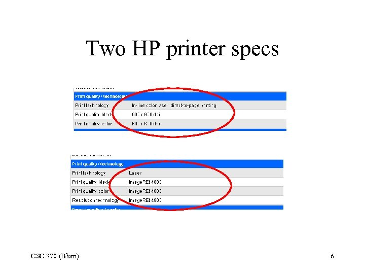 Two HP printer specs CSC 370 (Blum) 6