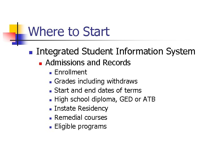 Where to Start n Integrated Student Information System n Admissions and Records n n