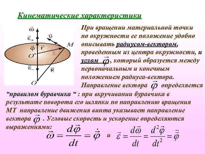 Кинематические характеристики При вращении материальной точки по окружности ее положение удобно описывать радиусом-вектором, проведенным