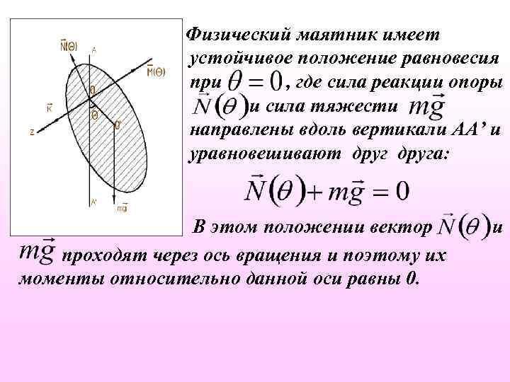 Физический маятник имеет устойчивое положение равновесия при , где сила реакции опоры и сила