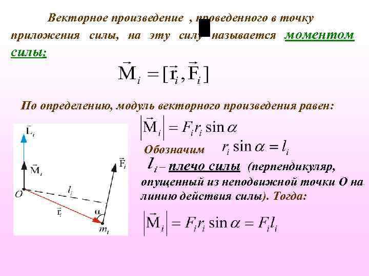 Векторное произведение , проведенного в точку приложения силы, на эту силу называется моментом силы: