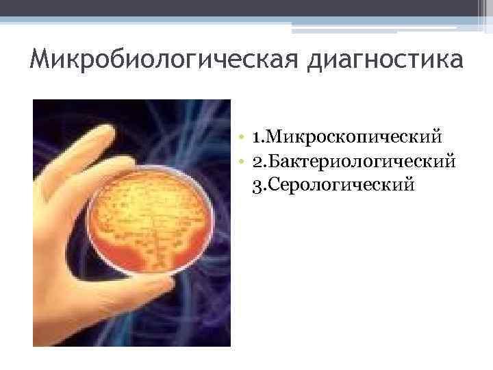 Микробиологическая диагностика • 1. Микроскопический • 2. Бактериологический 3. Серологический