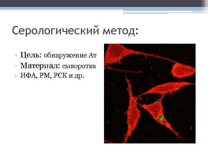 Серологический метод: • Цель: обнаружение Ат • Материал: сыворотка • ИФА, РМ, РСК и