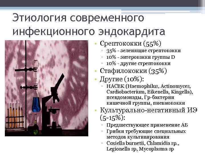 Этиология современного инфекционного эндокардита • Срептококки (55%) ▫ 35% - зеленящие стрептококки ▫ 10%