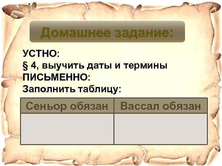 Домашнее задание: УСТНО: § 4, выучить даты и термины ПИСЬМЕННО: Заполнить таблицу: Сеньор обязан