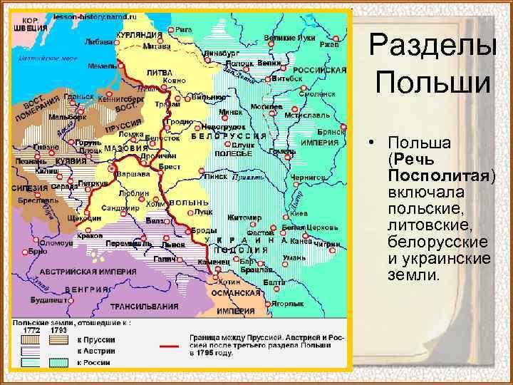 Разделы Польши • Польша (Речь Посполитая) включала польские, литовские, белорусские и украинские земли.