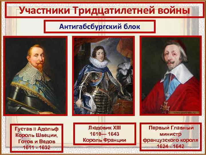 Участники Тридцатилетней войны Антигабсбургский блок Густав II Адольф Король Швеции, Готов и Ведов 1611