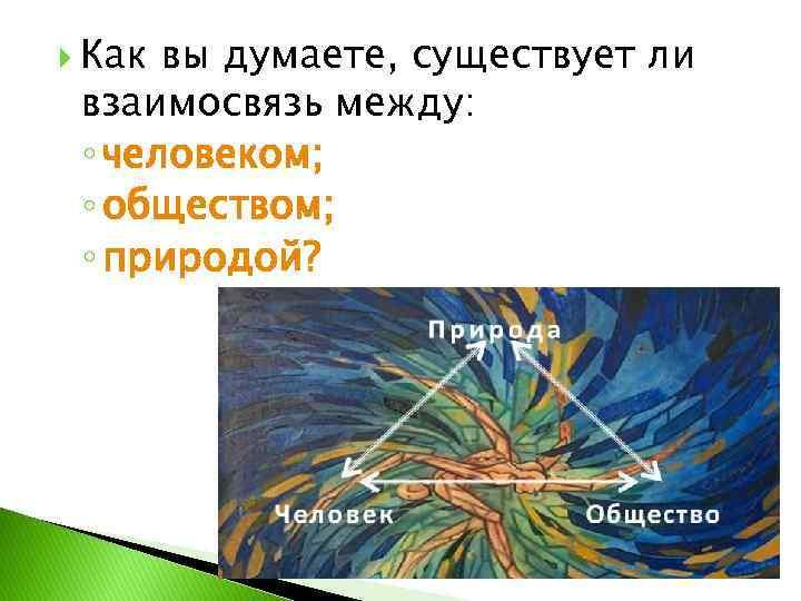 Как вы думаете, существует ли взаимосвязь между: ◦ человеком; ◦ обществом; ◦ природой?