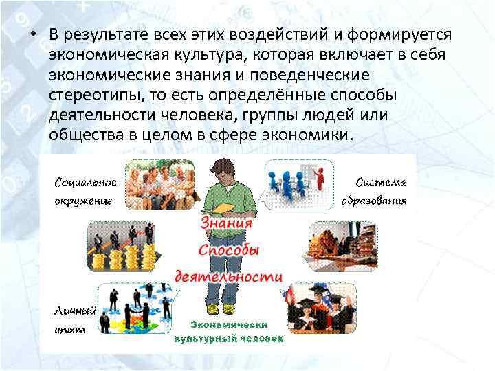 • В результате всех этих воздействий и формируется экономическая культура, которая включает в