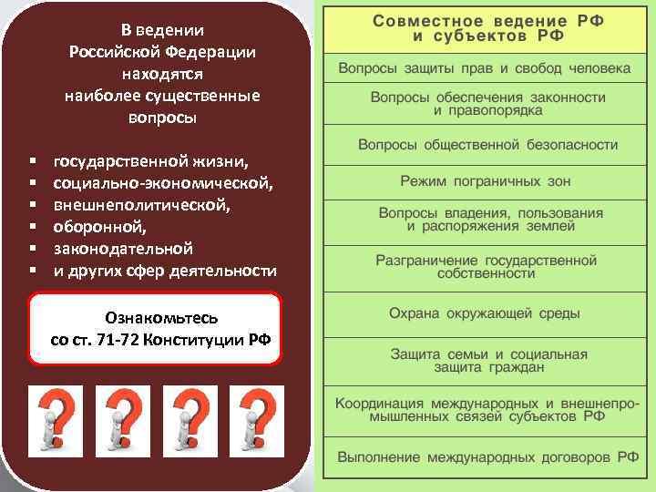 § § § В ведении Российской Федерации находятся наиболее существенные вопросы государственной жизни, социально-экономической,