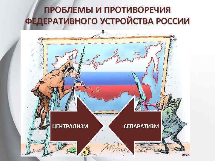 ПРОБЛЕМЫ И ПРОТИВОРЕЧИЯ ФЕДЕРАТИВНОГО УСТРОЙСТВА РОССИИ ЦЕНТРАЛИЗМ СЕПАРАТИЗМ
