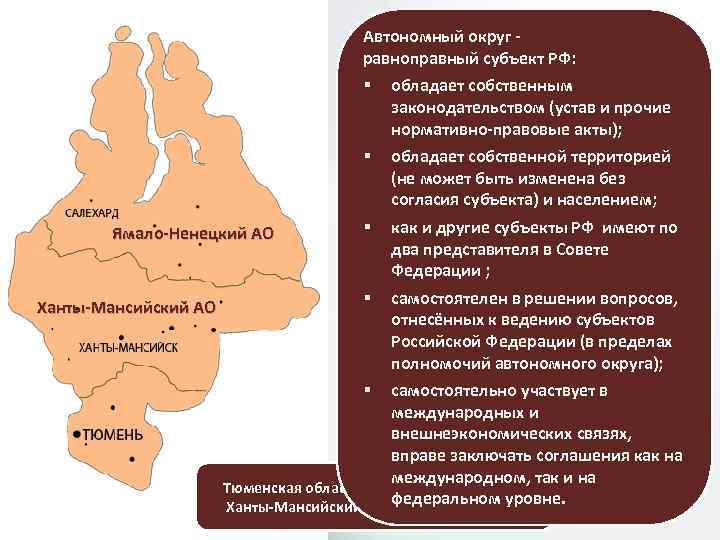 Автономный округ - СПЕЦИФИКА ПРАВОВОГО равноправный субъект РФ: § Ямало-Ненецкий АО Ханты-Мансийский АО СТАТУСА