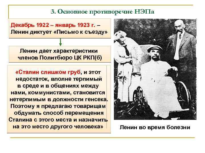 3. Основное противоречие НЭПа Декабрь 1922 – январь 1923 г. – Ленин диктует «Письмо